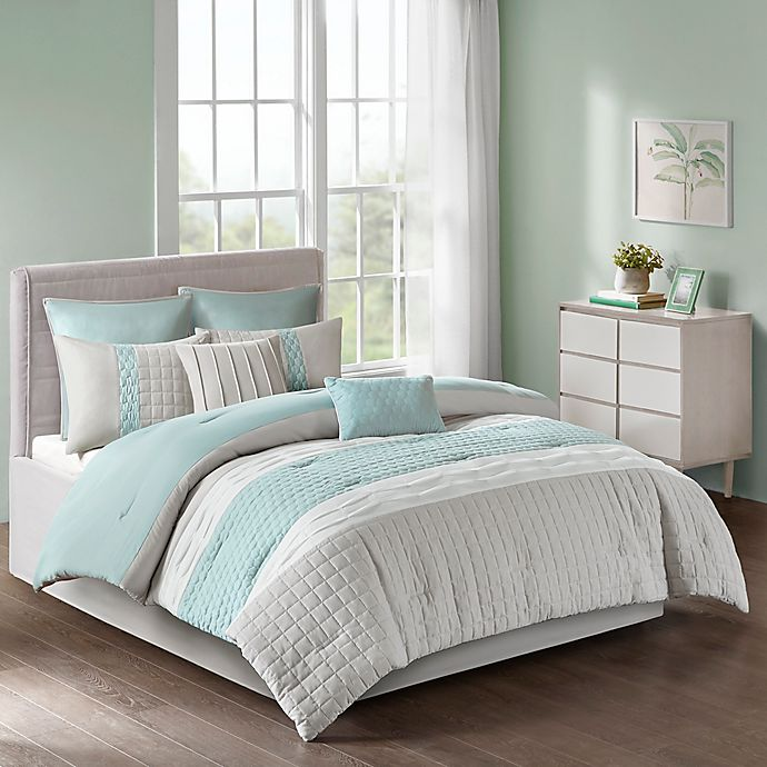 Alternate image 1 for Tinsley 8-Piece California King Comforter Set in Seafoam/Grey