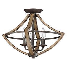 Quoizel® Shire 3-Light Flush-Mount Light in Rustic Black
