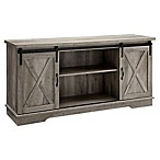 Forest Gate 58  Englewood Farmhouse Sliding Barn Door TV Stand Console in Grey Wash