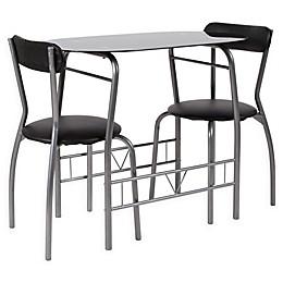 Flash Furniture Sutton 3-Piece Metal and Glass Bistro Set