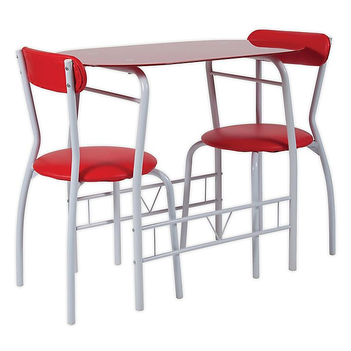 Flash Furniture Sutton 3 Piece Metal And Gl Bistro Set In Red