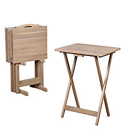 Linon Home Décor Products 5-Piece Moby Acacia Wood Tray Table Set
