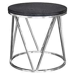Armen Living® Vivian Stainless Steel End Table in Grey
