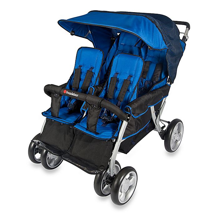 Alternate image 1 for Foundations® The Quad LX™ 4-Passenger Stroller with Dual Folding Canopy in Blue