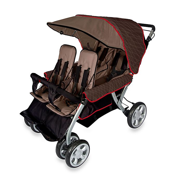 Alternate image 1 for Foundations® The Quad LX™ 4-Passenger Stroller with Dual Folding Canopy in Brown
