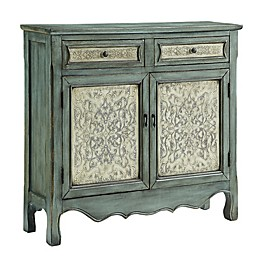 Powell Antique Slimline Console in Blue/White