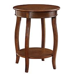 Powell Round End Table in Dark Hazelnut