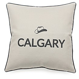Celebrating Canada Calgary Throw Pillow in Black/Linen