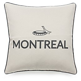 Celebrating Canada Montreal Throw Pillow in Black/Linen