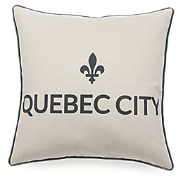 Quebec City Square Throw Pillow in Black/Linen