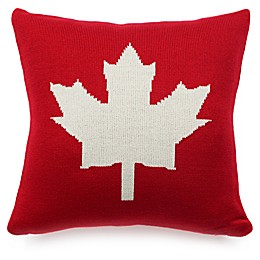 Maple Leaf Square Knitted Throw Pillow in Red/Cream