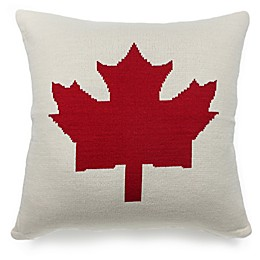 Maple Leaf Square Knitted Throw Pillow in Cream/Red