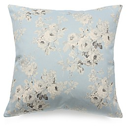 Romantic Florals Square Throw Pillow in Blue