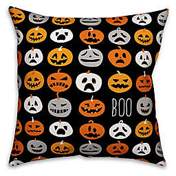 Designs Direct Halloween Boo Pumpkin Pattern Square Throw Pillow