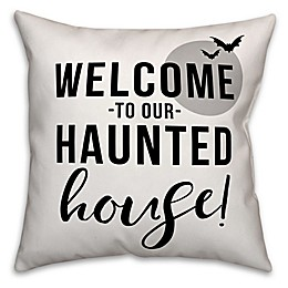Designs Direct Halloween Welcome To Our Haunted House Square Throw Pillow