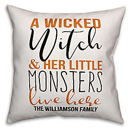 Designs Direct Halloween Wicked Witch Little Monsters Square Throw Pillow