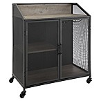 Forest Gate 33  Willow Industrial Wood Bar Cabinet in Grey Wash