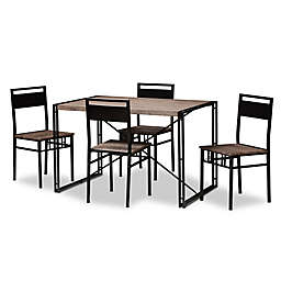 Baxton Studio Mamaine 5-Piece Dining Set in Brown/Black