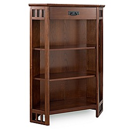 Leick Home Mission 3-Shelf Corner Bookcase Mantel in Oak