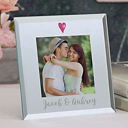 Romantic Heart 3-Inch Square Mirror Picture Frame