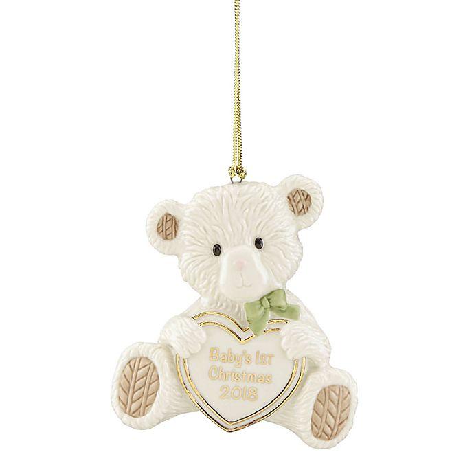 lenox 2018 babys first christmas teddy bear ornament