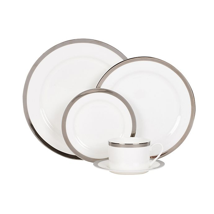 Alternate image 1 for Nevaeh® White by Fitz and Floyd® Grand Rim Platinum Dinnerware Collection