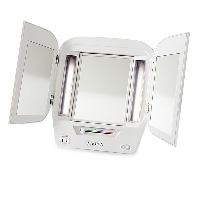 Alternate image 1 for Jerdon Tri-Fold Lighted Magnification Mirror