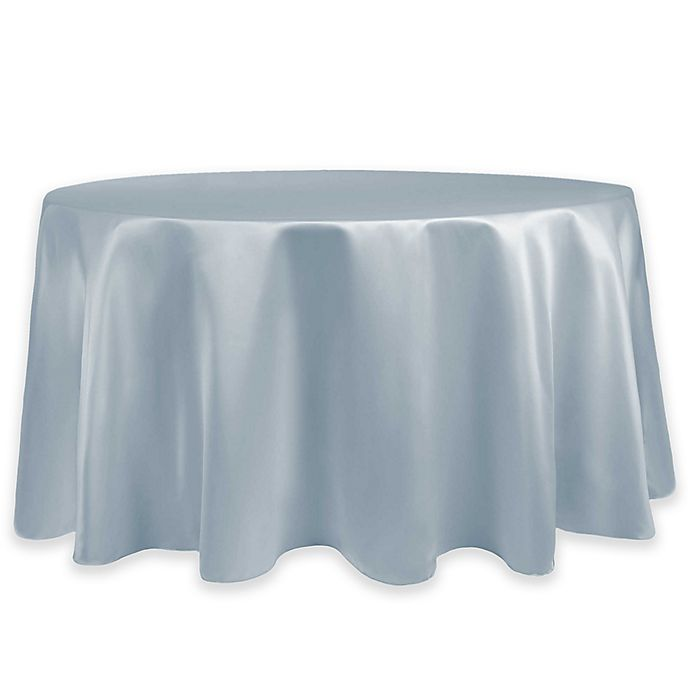 Alternate image 1 for Duchess Lamour Satin 60-Inch Round Tablecloth in Ice Blue