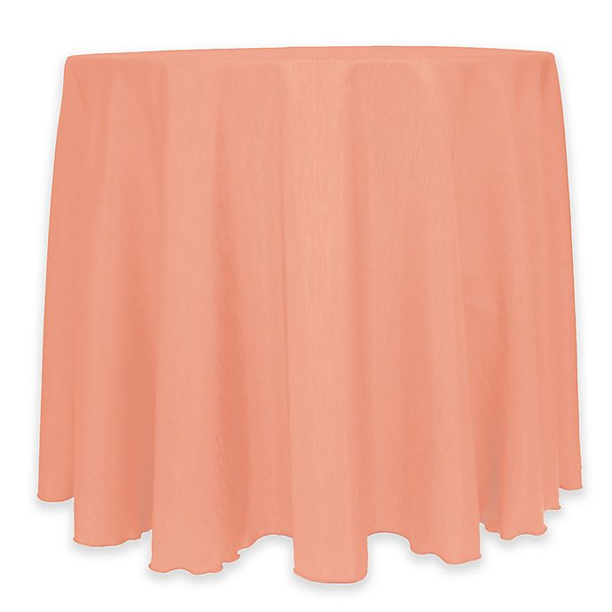 Alternate image 1 for Majestic 60-Inch Round Reversible Shantung Satin Tablecloth in Coral