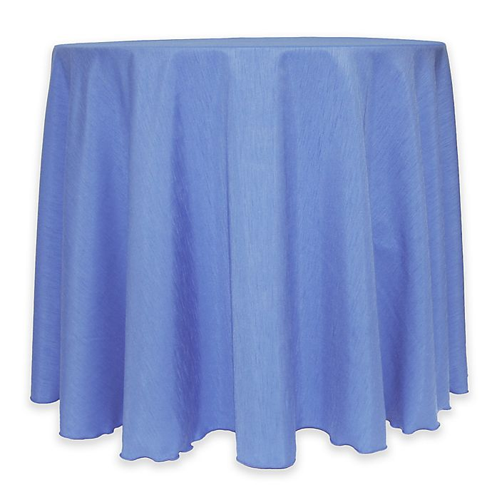 Alternate image 1 for Majestic 60-Inch Round Reversible Shantung Satin Tablecloth in Periwinkle