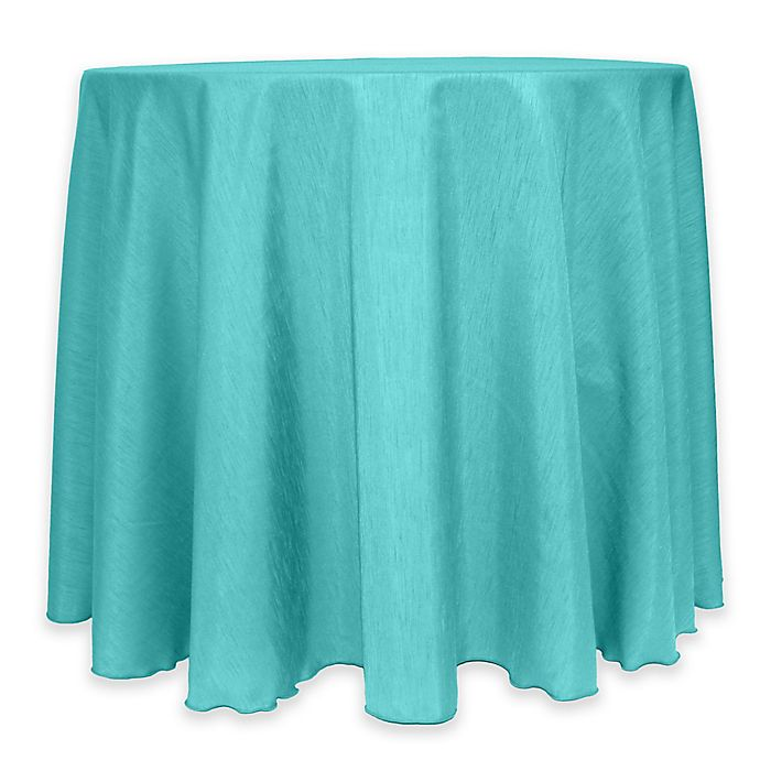 Alternate image 1 for Majestic 60-Inch Round Reversible Shantung Satin Tablecloth in Caribbean Blue