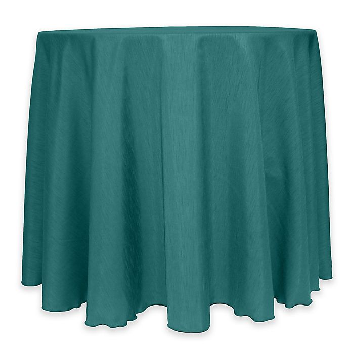 Alternate image 1 for Majestic 60-Inch Round Reversible Shantung Satin Tablecloth in Teal