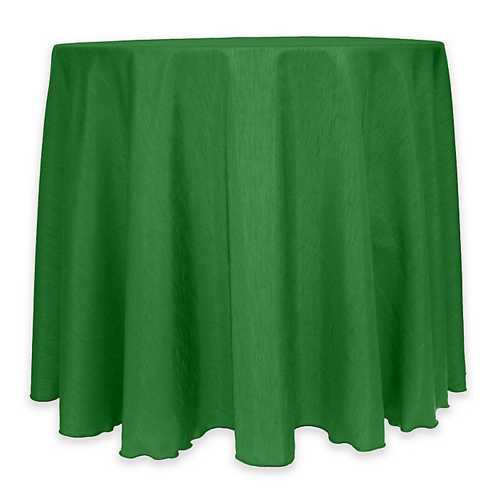 Alternate image 1 for Majestic 60-Inch Round Reversible Shantung Satin Tablecloth in Emerald Green
