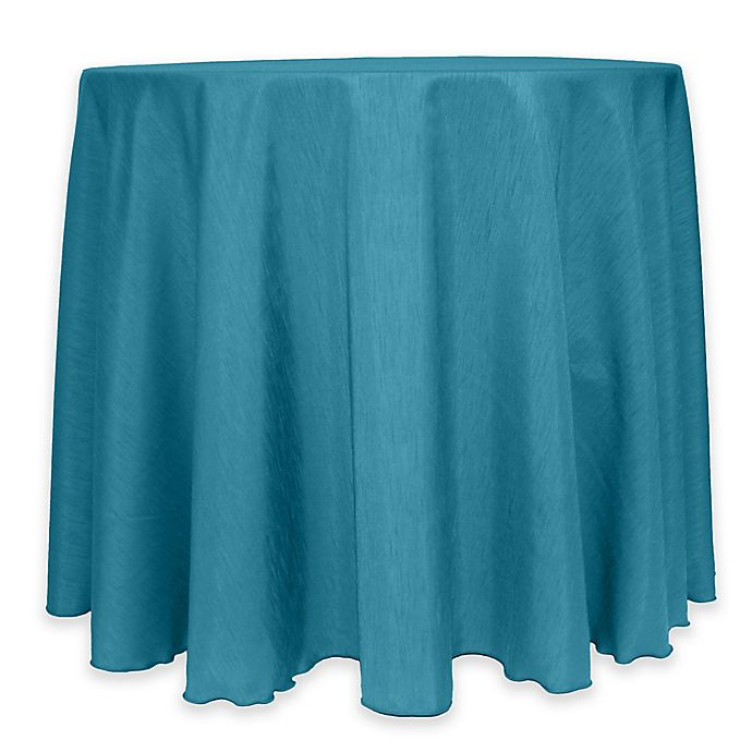 Alternate image 1 for Majestic 60-Inch Round Reversible Shantung Satin Tablecloth in Turquoise