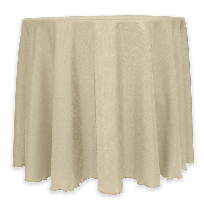 Alternate image 1 for Majestic 60-Inch Round Reversible Shantung Satin Tablecloth in Beige