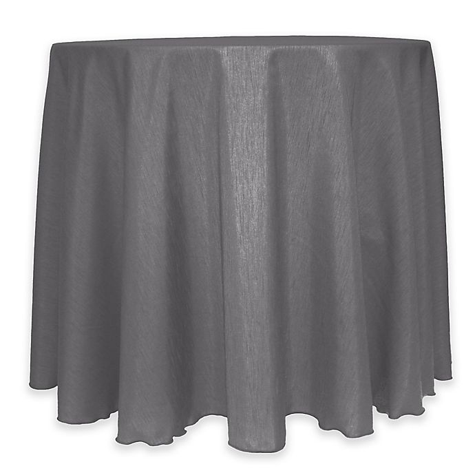 Alternate image 1 for Majestic 60-Inch Round Reversible Shantung Satin Tablecloth in Grey