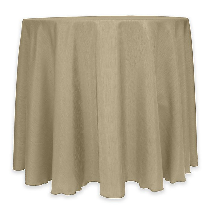 Alternate image 1 for Majestic 60-Inch Round Reversible Shantung Satin Tablecloth in Khaki