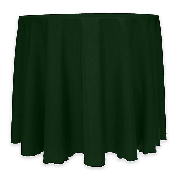 Alternate image 1 for Majestic 60-Inch Round Reversible Shantung Satin Tablecloth in Hunter Green