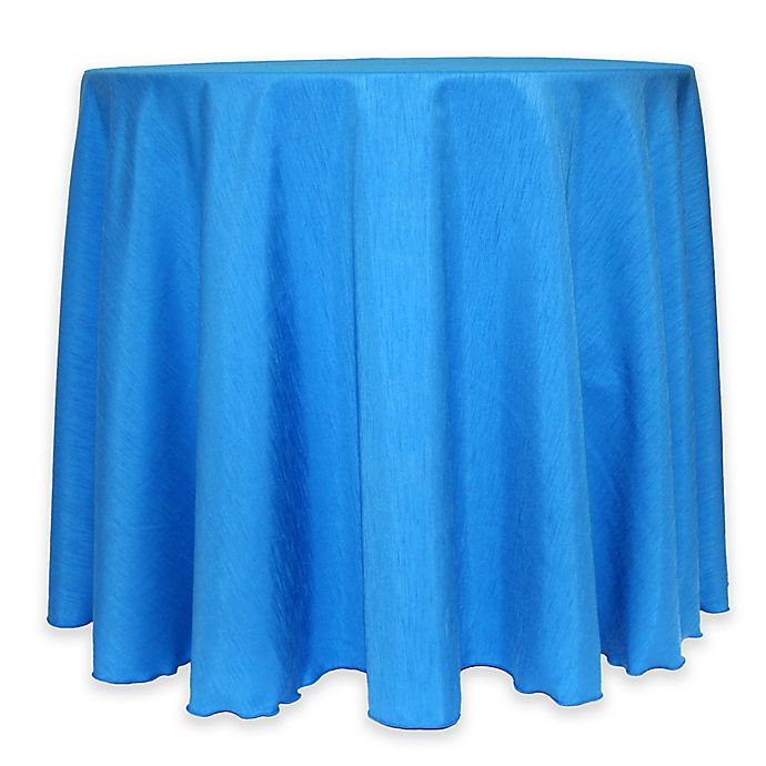 Alternate image 1 for Majestic 60-Inch Round Reversible Shantung Satin Tablecloth in Cobalt