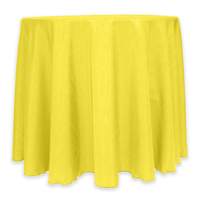 Alternate image 1 for Majestic 60-Inch Round Reversible Shantung Satin Tablecloth in Lemon
