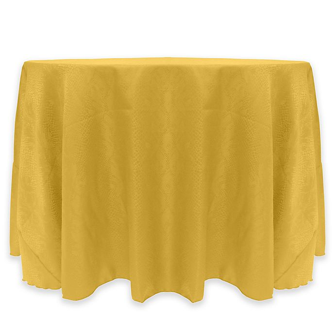 Alternate image 1 for Kenya Damask 60-Inch Round Tablecloth in Gold