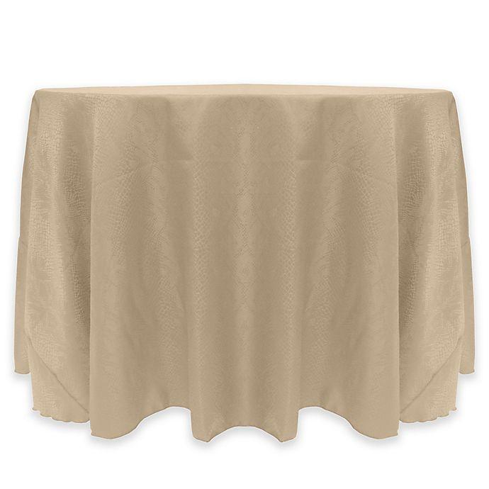 Alternate image 1 for Kenya Damask 72-Inch Round Tablecloth in Beige