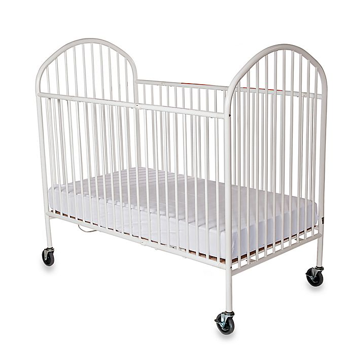Alternate image 1 for Foundations® Pinnacle™ Full-Size Steel Folding Crib in White