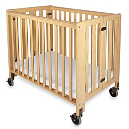 Foundations® HideAway Easy Roll Compact Fixed-Side Folding Crib in Natural