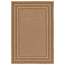Unique Loom Multi Border Indoor/Outdoor Rug in Light Brown