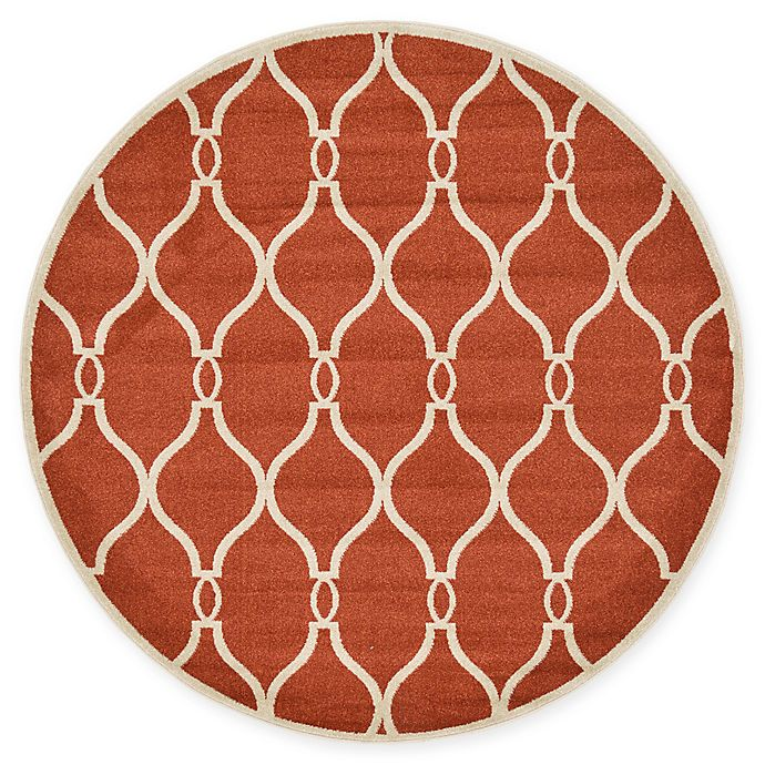 Alternate image 1 for Unique Loom Seattle Trellis 6' Round Powerloomed Area Rug in Terracotta
