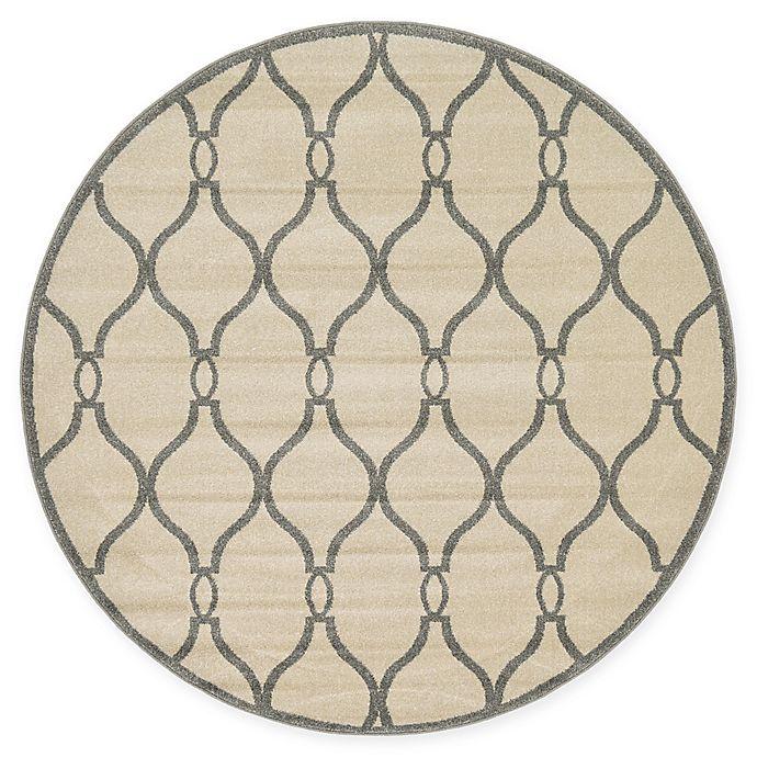 Alternate image 1 for Unique Loom Seattle Trellis 6' Round Powerloomed Area Rug in Cream