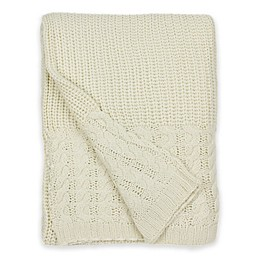 Hui Resource Heavy Cable Knit Throw Blanket in Cream