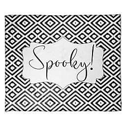 "Halloween ""Spooky"" Fleece Throw Blanket in Black/White"