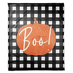 Designs Direct Halloween Boo Buffalo Check Fleece Throw Blanket